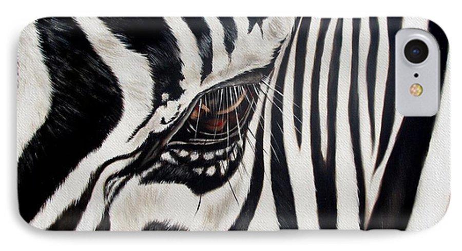 Zebra IPhone 7 Case featuring the painting Zebra Eye by Ilse Kleyn