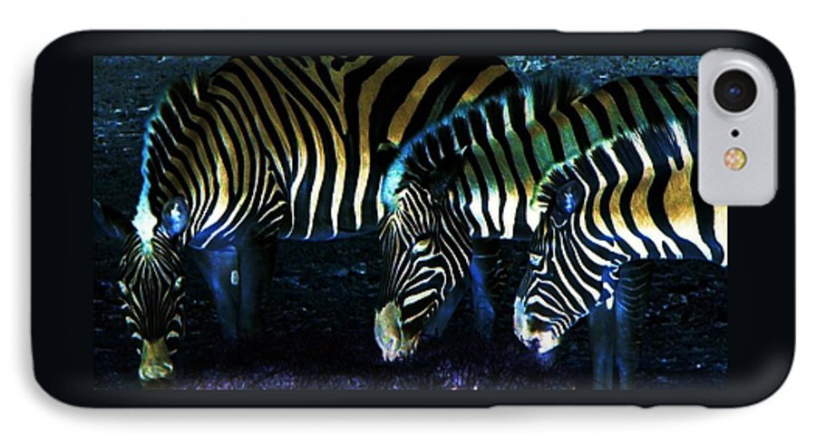 Zebra IPhone 7 Case featuring the digital art Zebras Glow by Kenna Westerman