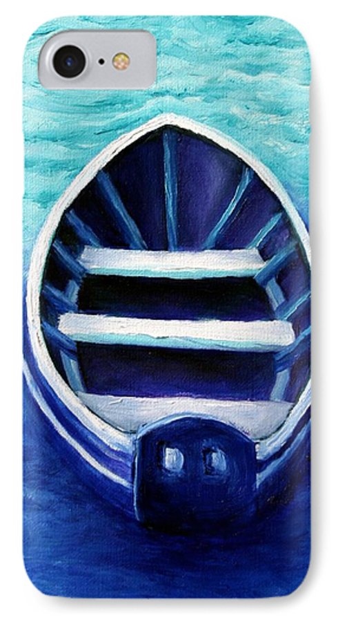 Boat IPhone 7 Case featuring the painting Zen Boat by Minaz Jantz