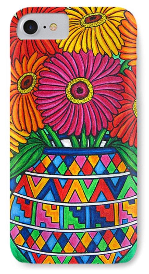 Zinnia IPhone 7 Case featuring the painting Zinnia Fiesta by Lisa Lorenz