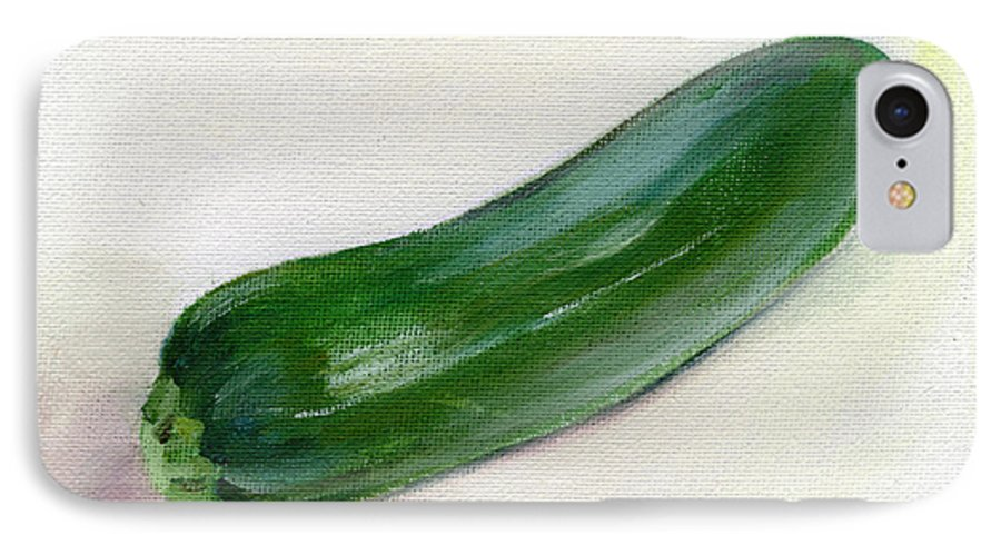 Food IPhone 7 Case featuring the painting Zucchini by Sarah Lynch