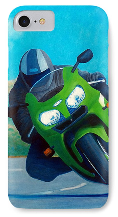 Motorcycle IPhone 7 Case featuring the painting Zx9 - California Dreaming by Brian Commerford