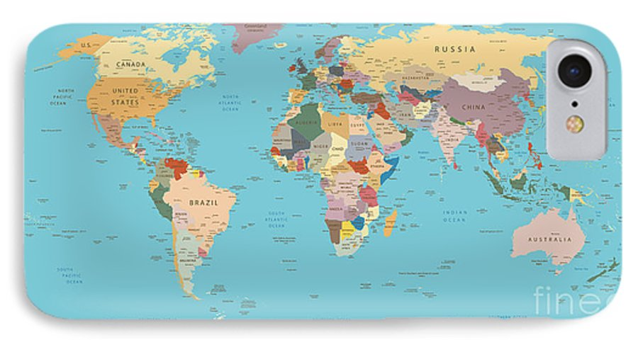 Highly Detailed World Map With Vintage IPhone 7 Case