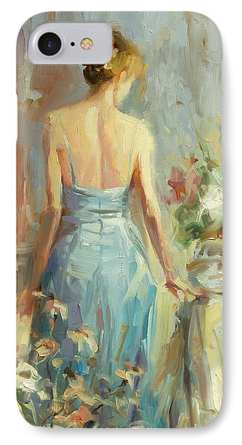 Woman IPhone 7 Case featuring the painting Thoughtful by Steve Henderson