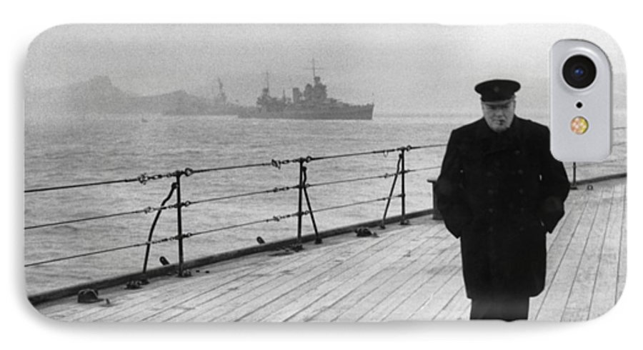 Winston Churchill IPhone 7 Case featuring the photograph Winston Churchill At Sea by War Is Hell Store