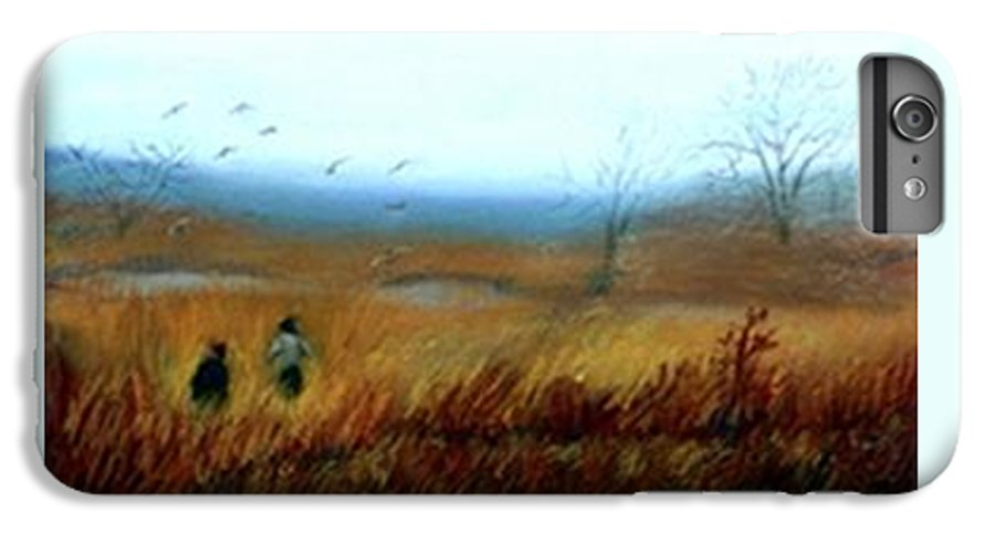 Figures IPhone 7 Plus Case featuring the painting A Winter Walk by Gail Kirtz