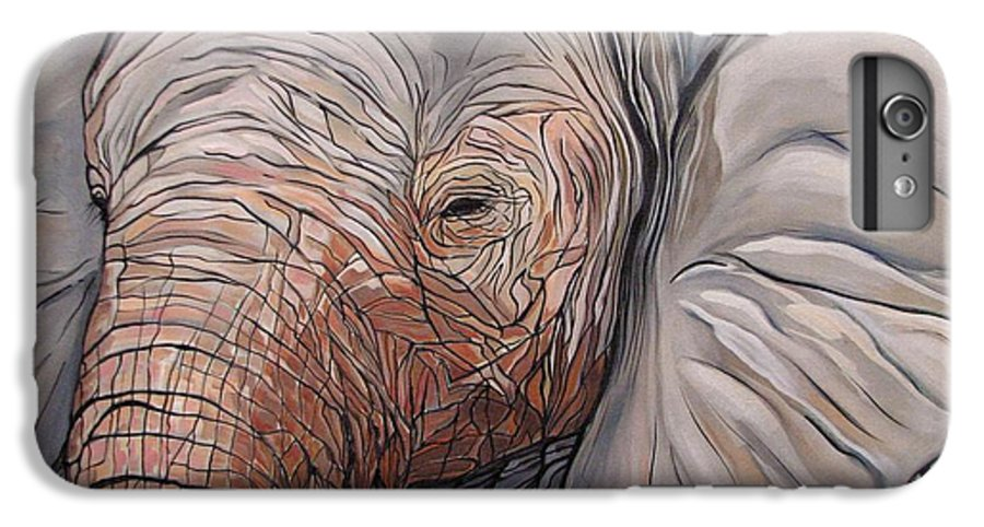 Elephant Bull Painting IPhone 7 Plus Case featuring the painting Are You There by Aimee Vance