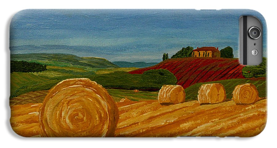 Hay IPhone 7 Plus Case featuring the painting Field Of Golden Hay by Anthony Dunphy