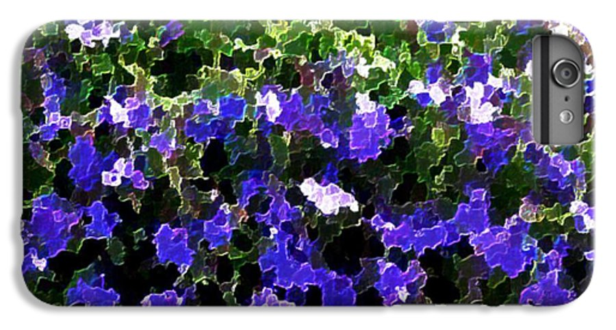 Blue.flowers.green Leaves.happiness.rest.pleasure.mosaic IPhone 7 Plus Case featuring the digital art Blue Flowers On Sun by Dr Loifer Vladimir