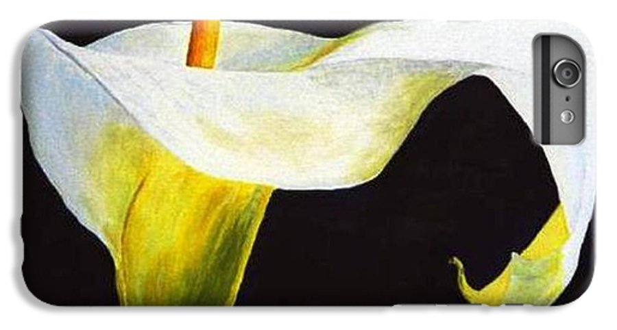 Close-up IPhone 7 Plus Case featuring the painting Calla Lily by Bruce Combs - REACH BEYOND