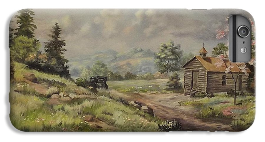 Landscape IPhone 7 Plus Case featuring the painting Church In The Ozarks by Wanda Dansereau