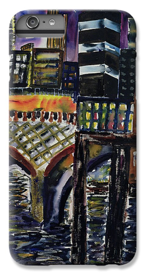 Nocturne IPhone 7 Plus Case featuring the painting City At Night by Hilary Rosen