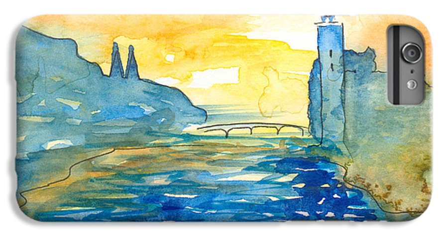 Landscape IPhone 7 Plus Case featuring the painting City Hall Stockholm by Christina Rahm Galanis