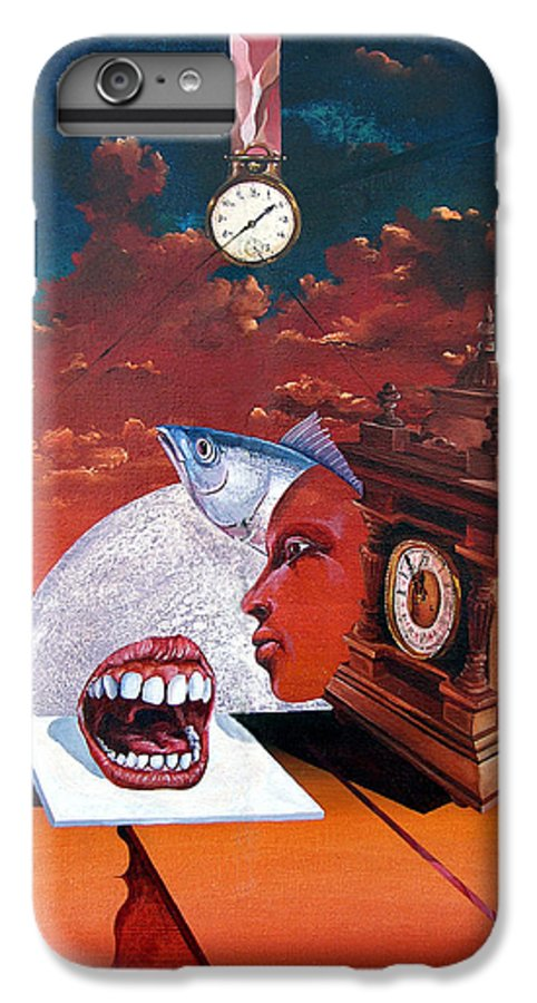 Otto+rapp Surrealism Surreal Fantasy Time Clocks Watch Consumption IPhone 7 Plus Case featuring the painting Consumption Of Time by Otto Rapp