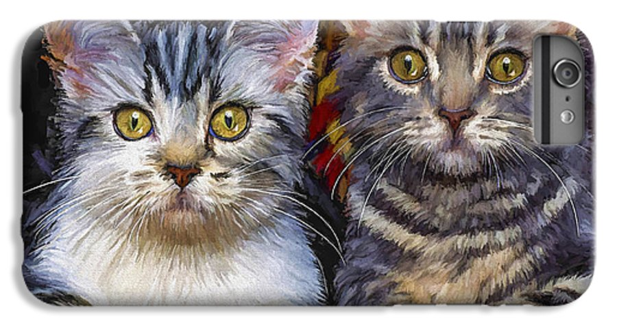 Cat IPhone 7 Plus Case featuring the painting Curious Kitties by David Wagner