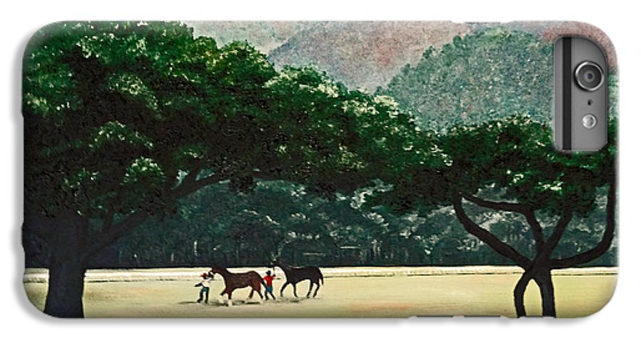 Trees IPhone 7 Plus Case featuring the painting Early Morning Savannah by Karin Dawn Kelshall- Best