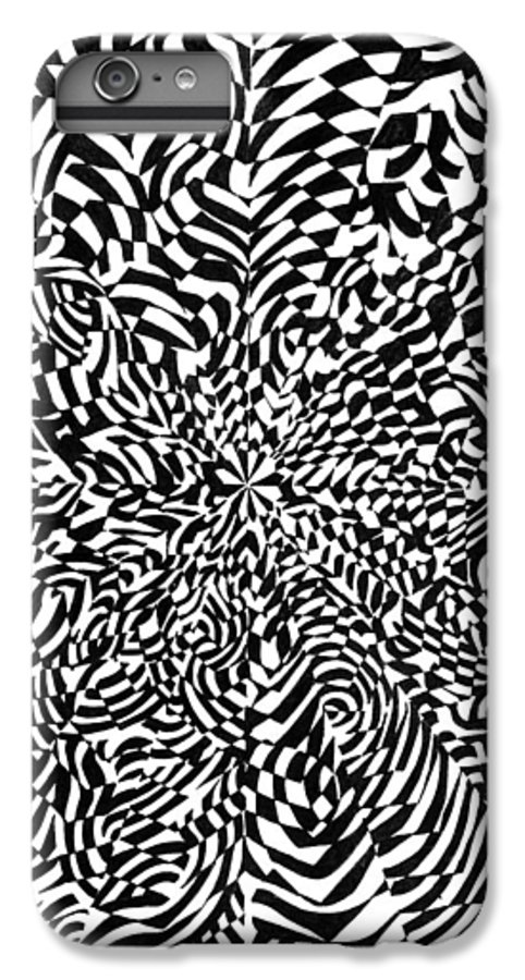 Abstract IPhone 7 Plus Case featuring the drawing Entangle by Crystal Hubbard