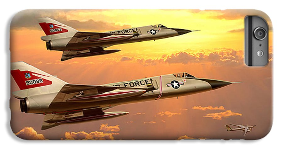Aviation IPhone 7 Plus Case featuring the painting F-106 Delta Dart Intercept by Mark Karvon