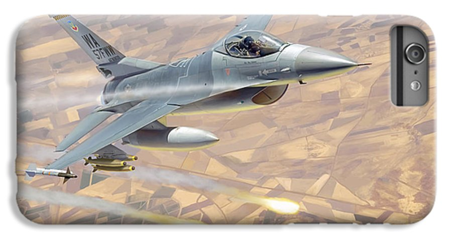 Aviation IPhone 7 Plus Case featuring the painting F-16 Fighting Falcon by Mark Karvon