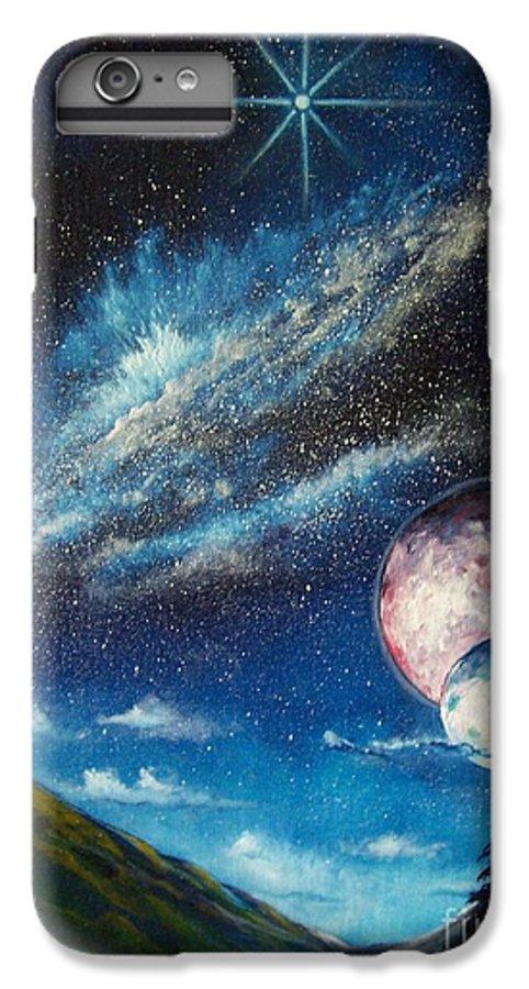 Space Horizon IPhone 7 Plus Case featuring the painting Galatic Horizon by Murphy Elliott