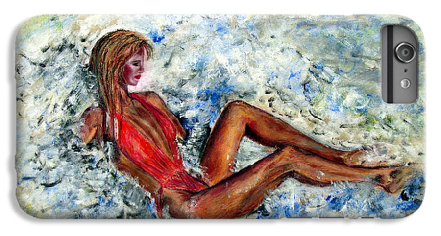 Girl IPhone 7 Plus Case featuring the painting Girl In A Red Swimsuit by Tom Conway