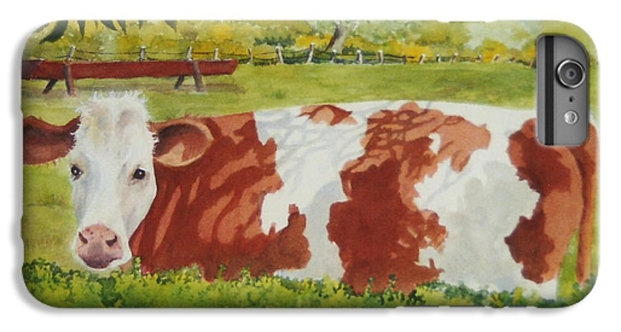 Cows IPhone 7 Plus Case featuring the painting Give Me Moooore Shade by Mary Ellen Mueller Legault