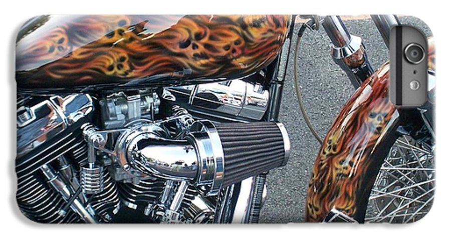 Motorcycles IPhone 7 Plus Case featuring the photograph Harley Close-up Skull Flame by Anita Burgermeister