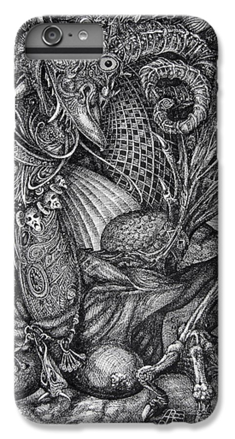 Surrealism IPhone 7 Plus Case featuring the drawing Jabberwockie by Otto Rapp