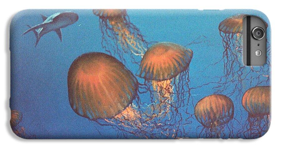 Underwater IPhone 7 Plus Case featuring the painting Jellyfish And Mr. Bones by Philip Fleischer