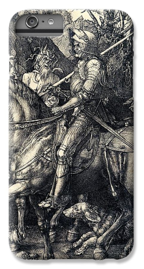 Knight IPhone 7 Plus Case featuring the drawing Knight Death And The Devil by Albrecht Durer