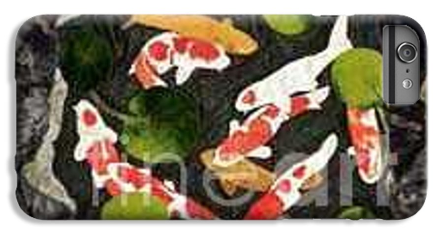 Fiber IPhone 7 Plus Case featuring the tapestry - textile Koi Fest by Jenny Williams