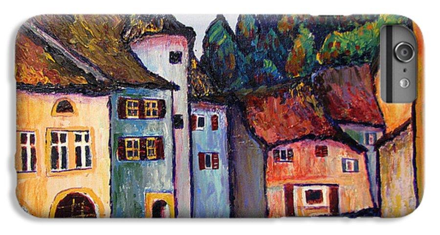 Medieval IPhone 7 Plus Case featuring the painting Medieval Village Of St. Ursanne Switzerland by Art Nomad Sandra Hansen