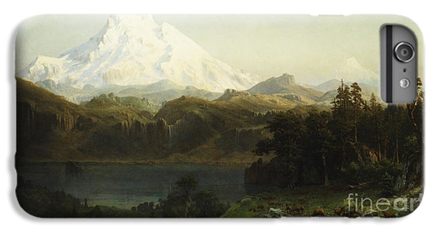 Mountain IPhone 7 Plus Case featuring the painting Mount Hood In Oregon by Albert Bierstadt