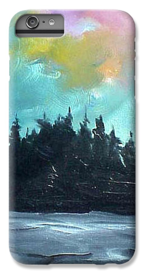 Landscape IPhone 7 Plus Case featuring the painting Night River by Sergey Bezhinets