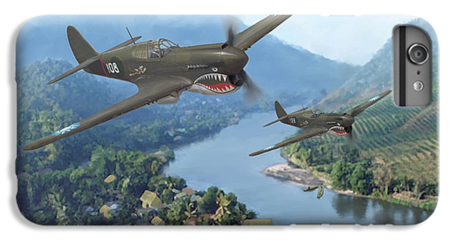 Airplanes IPhone 7 Plus Case featuring the painting P-40 Warhawks Of The 23rd Fg by Mark Karvon