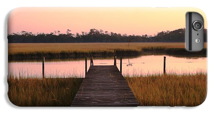 Pink IPhone 7 Plus Case featuring the photograph Pink And Orange Morning On The Marsh by Nadine Rippelmeyer