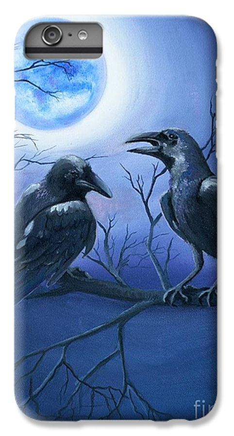 Ravens IPhone 7 Plus Case featuring the painting Raven's Moon by Lora Duguay