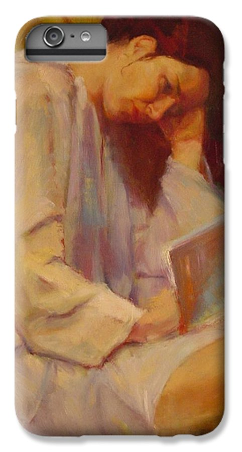 Figure IPhone 7 Plus Case featuring the painting Reading In The Blue Robe by Irena Jablonski