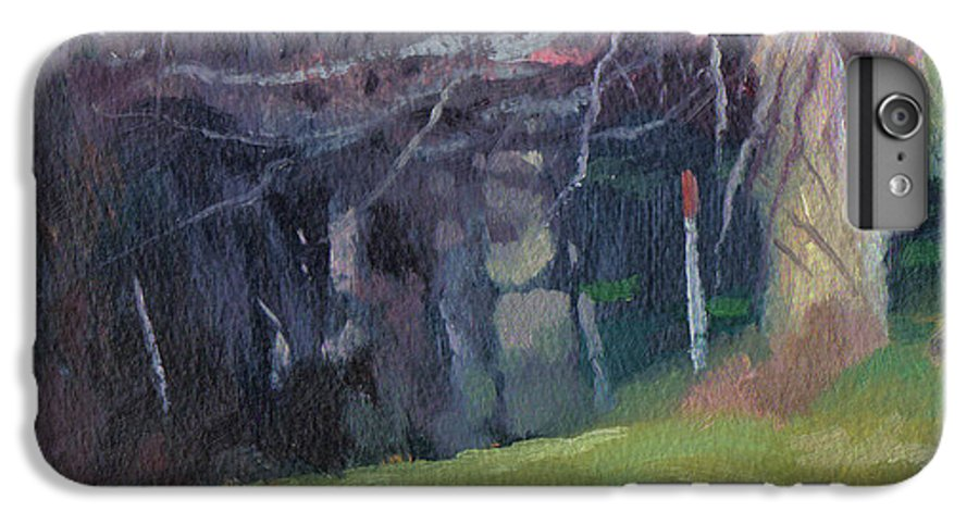 Landscape IPhone 7 Plus Case featuring the painting Red Top Fence Post by John L Campbell