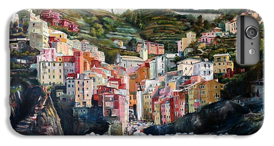 Cinque Terre IPhone 7 Plus Case featuring the painting Riomaggiore Glory- Cinque Terre by Jennifer Lycke