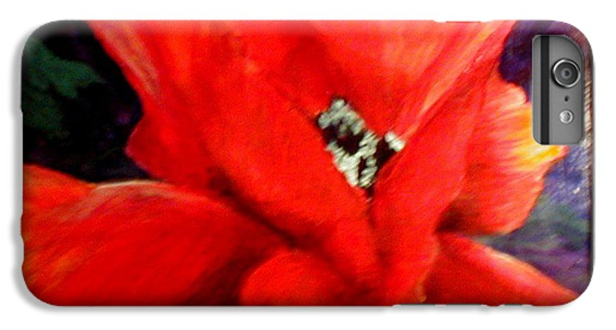Floral IPhone 7 Plus Case featuring the painting She Wore Red Ruffles by Gail Kirtz