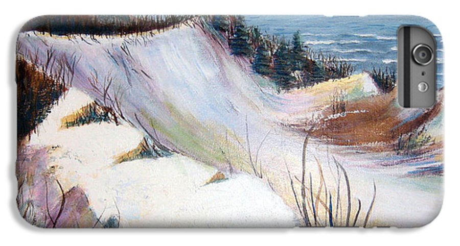 Snow IPhone 7 Plus Case featuring the painting Snow On The Dunes by Art Nomad Sandra Hansen