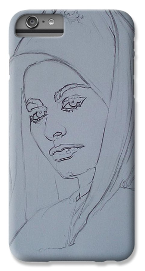 Woman IPhone 7 Plus Case featuring the drawing Sophia Loren In Headdress by Sean Connolly