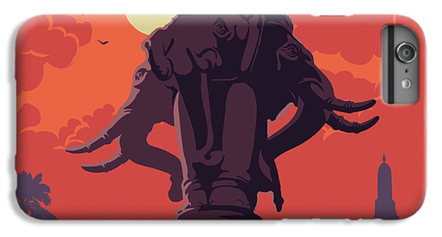 Red IPhone 7 Plus Case featuring the digital art Statue Of Elephants In Bangkok City by Antonpix