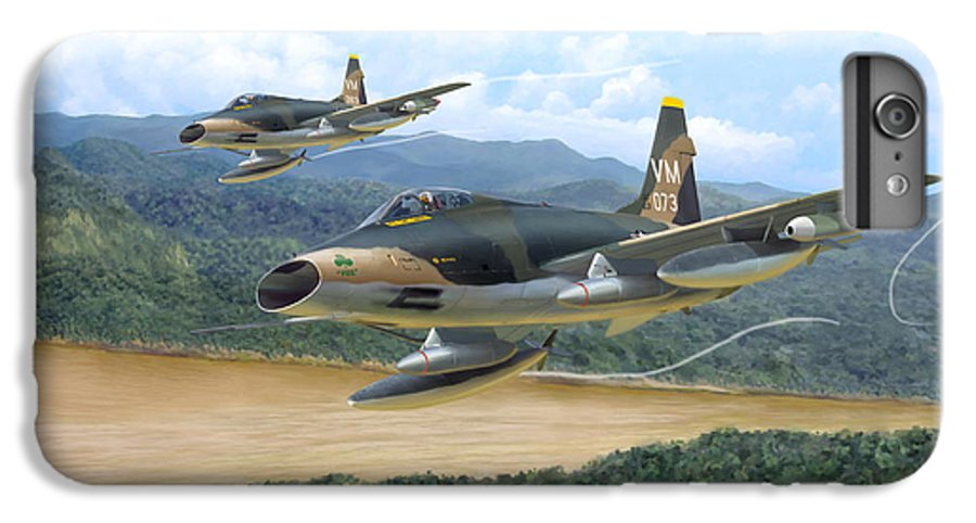 Aviation IPhone 7 Plus Case featuring the painting The Hun - F-100 Super Sabres In Vietnam by Mark Karvon