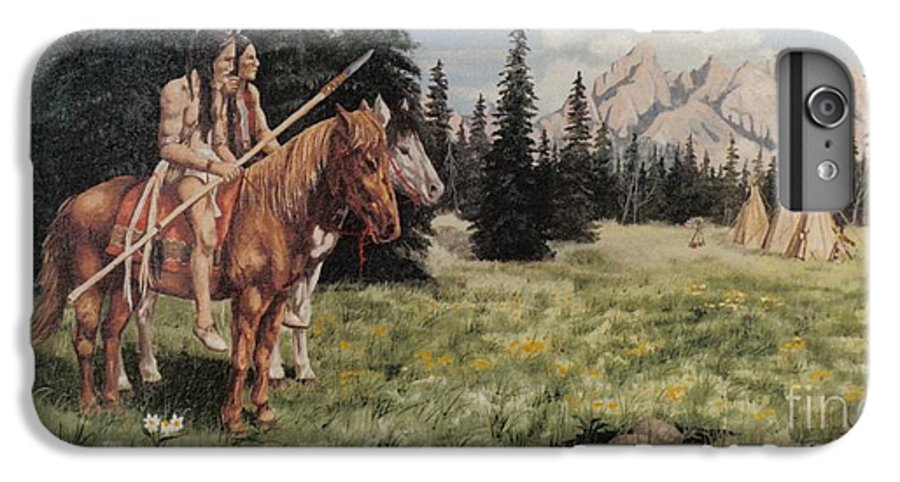 Landscape IPhone 7 Plus Case featuring the painting The Tetons Early Tribes by Wanda Dansereau