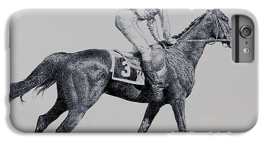 Racehorse Horse Horseracing Thorobreds Jockey IPhone 7 Plus Case featuring the drawing To The Gate by Tony Ruggiero