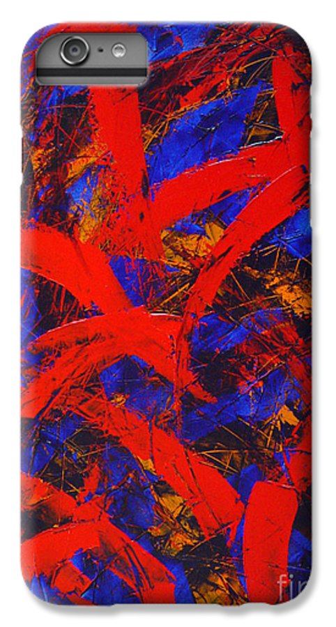 Abstract IPhone 7 Plus Case featuring the painting Transitions With Blue And Red by Dean Triolo