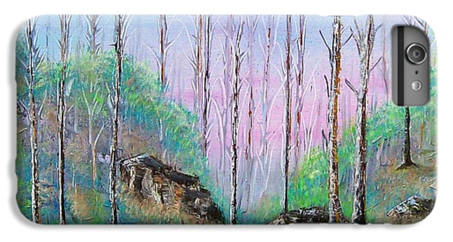 Landscape IPhone 7 Plus Case featuring the painting Trees With Cuatro by Tony Rodriguez