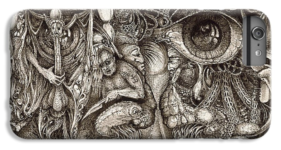 Surreal IPhone 7 Plus Case featuring the drawing Tripping Through Bogomils Mind by Otto Rapp